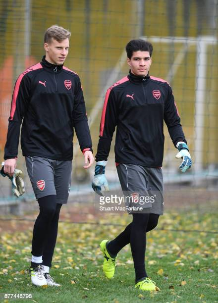 Hugo Keto and Joao Virginia of Arsenal during a training session at London Colney on November 22 2017 in St Albans England