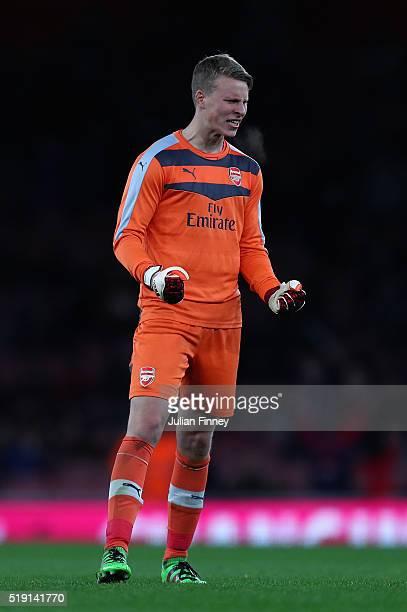Hugo Keto goalkeeper of Arsenal during the FA Youth Cup semifinal second leg match between Arsenal and Manchester City at Emirates Stadium on April 4...