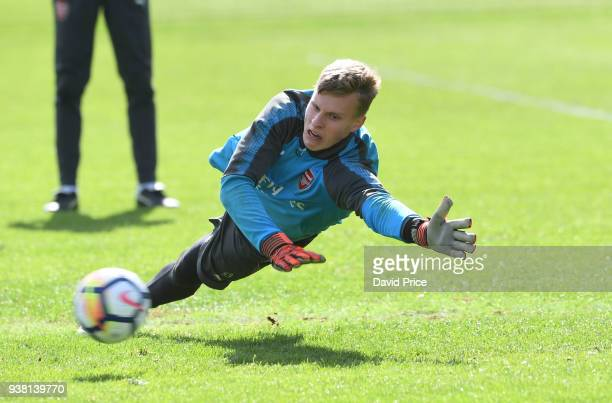 Hugo Keto of Arsenal during the 1st team training session at London Colney on March 26 2018 in St Albans England