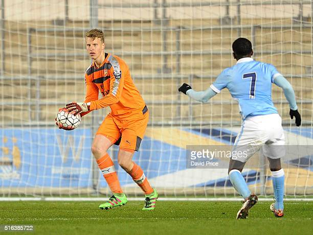 Hugo Keto of Arsenal during the match between Manchester City and Arsenal in the FA Youth Cup semi final 1st leg on March 18 2016 in Manchester...