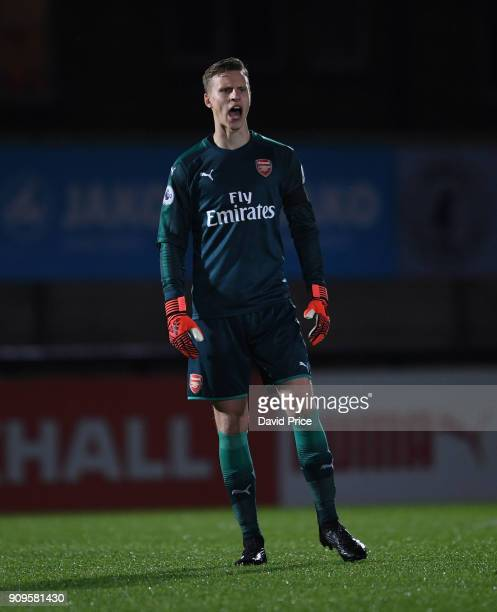 Hugo Keto of Arsenal during the Premier League International Cup Match between Arsenal and Bayern Munich at Meadow Park on January 23 2018 in...