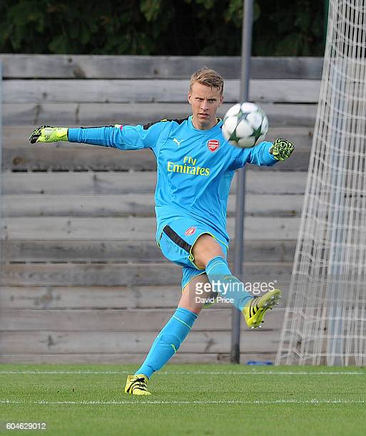 Hugo Keto of Arsenal during the UEFA Champions League match between Paris SaintGermain and Arsenal at Stade GeorgesLefevre on September 13 2016 in...