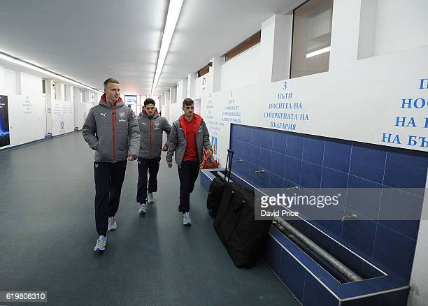 Hugo Keto Savvas Mourgos and Vlad Dragomir of Arsenal arrive at the stadium before the match between PFC Ludogorets Ragrad and Arsenal in the UEFA...
