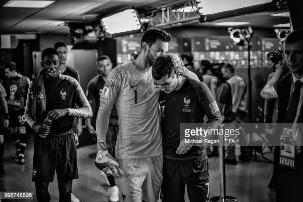 Hugo Lloris and Antoine Griezmann of France wait with team mates in the tunnel at half time during the 2018 FIFA World Cup Russia Semi Final match...