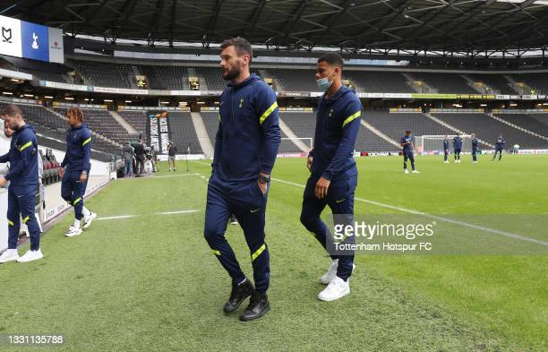 Hugo Lloris and dane Scarlett of Tottenham Hotspur during the Pre-Season Friendly match between Milton Keynes Dons and Tottenham Hotspur at Stadium...