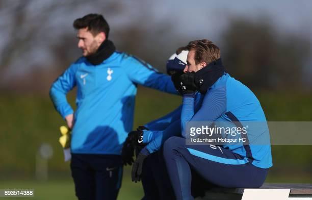 Hugo Lloris and Harry Kane of Tottenham Hotspur during the Tottenham Hotspur training session at Tottenham Hotspur Training Centre on December 15...