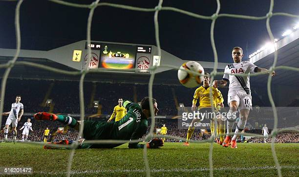 Hugo Lloris and Kieran Trippier of Tottenham Hotspur react as PierreEmerick Aubameyang of Borussia Dortmund scores their second goal during the UEFA...