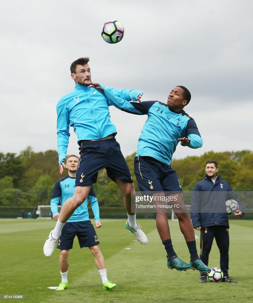Hugo Lloris and Kyle Walker-Peters of Tottenham during the Tottenham Hotspur training session at Tottenham Hotspur Training Centre on April 28, 2017 in Enfield, England.