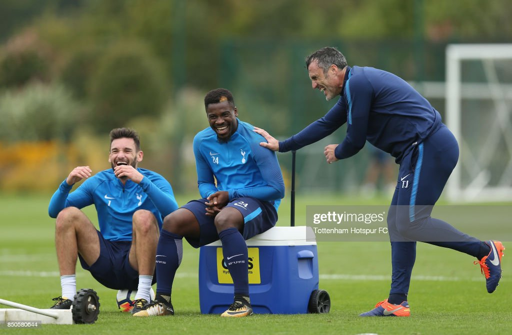 Hugo Lloris and Serge Aurier of Tottenham with goalkeeping coach Toni Jimenez during the Tottenham Hotspur training session at Tottenham Hotspur Training Centre on September 21, 2017 in Enfield, England.