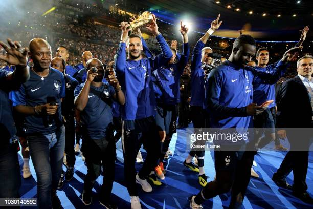 Hugo LLoris and teammattes celebrate the with the FIFA World Cup won on July 15 2018 in MoscowRussia in front of their fans after the UEFA Nations...