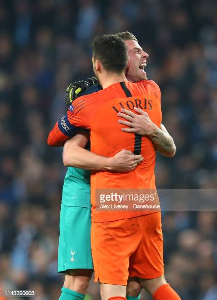 Hugo Lloris and Toby Alderweireld of Tottenham Hotspur celebrate after the UEFA Champions League Quarter Final second leg match between Manchester...