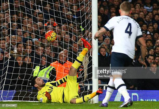 Hugo Lloris goalkeeper of Tottenham Hotspur is beaten by Michail Antonio of West Ham United for the opening goal during the Barclays Premier League...
