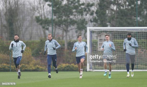 Hugo Lloris Harry Kane Erik Lamela Juan Foyth and Paulo Gazzaniga of Tottenham Hotspur during the Tottenham Hotspur training session at Tottenham...