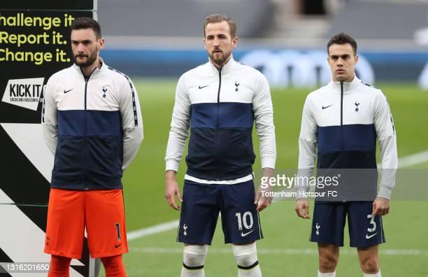 Hugo Lloris, Harry Kane of Tottenham Hotspur and Sergio Reguilon of Tottenham Hotspur during the Premier League match between Tottenham Hotspur and...