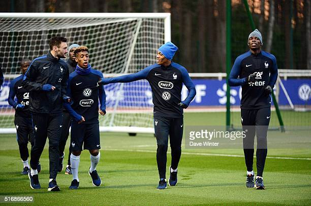 Hugo Lloris Kingsley Coman Anthony Martial and Paul Pogba of France during training on the first day of their training ahead of the friendly football...