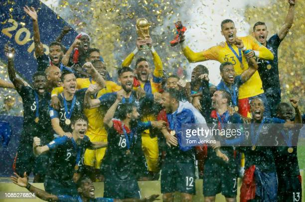 Hugo Lloris lifts the trophy for France after the France v Croatia FIFA World Cup 2018 final at the Luzhniki Stadium on July 15th 2018 in Moscow...