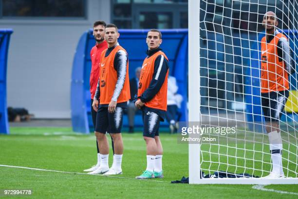 Hugo Lloris Lucas Hernandez and Antoine Griezmann of France during a France training session ahead of the FIFA World Cup 2018 in Russia on June 12...