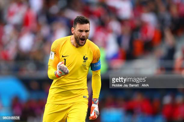 Hugo Lloris of celebrates after his team's first goal during the 2018 FIFA World Cup Russia group C match between France and Peru at Ekaterinburg...