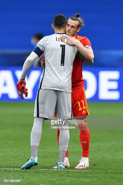 Hugo Lloris of France and Gareth Bale of Wales interact during the international friendly match between France and Wales at Allianz Riviera on June...