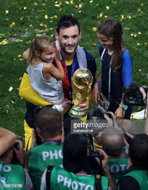 Hugo Lloris of France and his children celebrate with the trophy after the 2018 FIFA World Cup Russia Final between France and Croatia at Luzhniki...