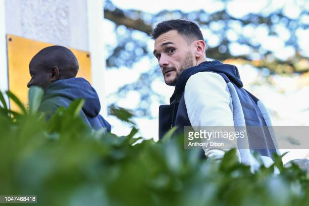 Hugo Lloris of France arrives for the training session of the France soccer team at Centre National du Football on October 8 2018 in Clairefontaine...