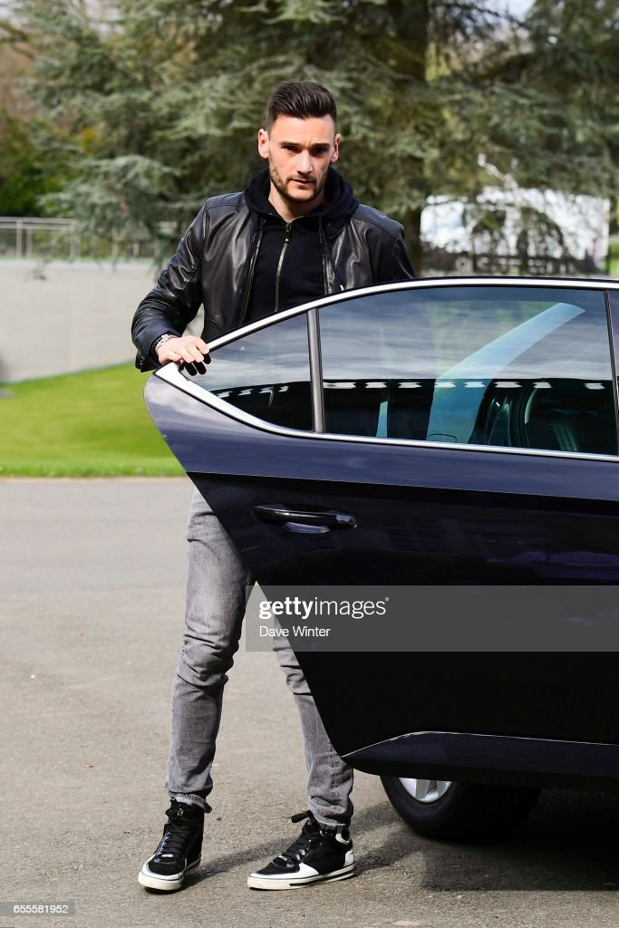 Hugo Lloris of France arriving at Centre National du Football on March 20, 2017 in Clairefontaine, France.