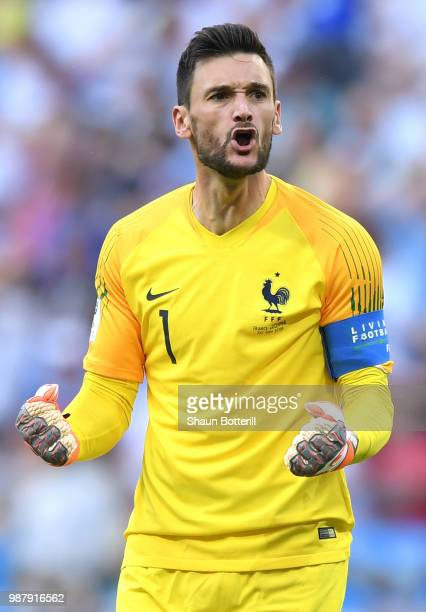 Hugo Lloris of France celebrates after teammate Benjamin Pavard scores their team's second goal during the 2018 FIFA World Cup Russia Round of 16...