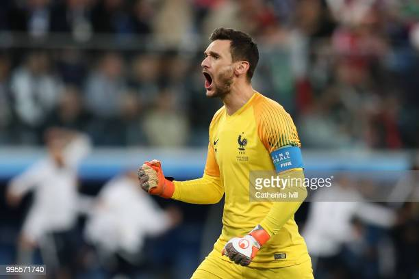 Hugo Lloris of France celebrates after teammate Samuel Umtiti of France scores their team's first goal during the 2018 FIFA World Cup Russia Semi...