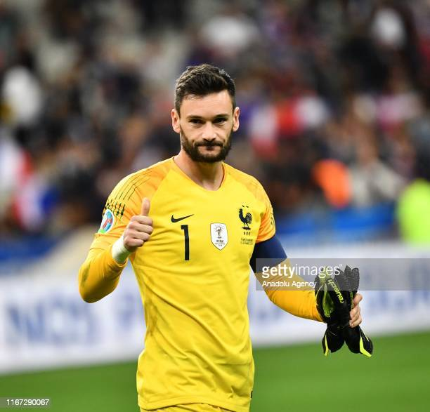 Hugo Lloris of France celebrates after winning the UEFA EURO 2020 UEFA EURO 2020 qualifier Group H soccer match between France and Andorra at Stade...