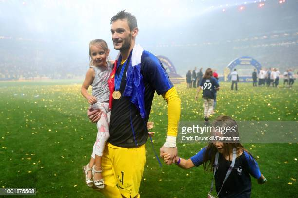 Hugo Lloris of France celebrates at fulltime with his daughters following the 2018 FIFA World Cup Russia Final between France and Croatia at Luzhniki...