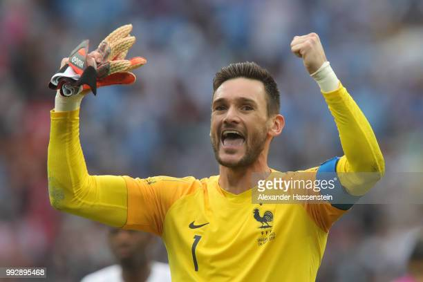 Hugo Lloris of France celebrates following his sides victory in the 2018 FIFA World Cup Russia Quarter Final match between Uruguay and France at...
