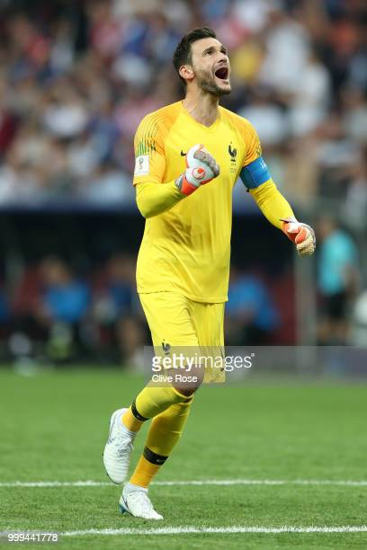 Hugo Lloris of France celebrates his team's first goal, an own goal scored by Mario Mandzukic of Croatia during the 2018 FIFA World Cup Final between...