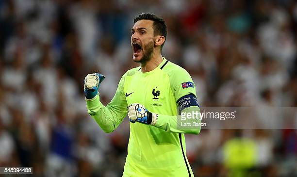 Hugo Lloris of France celebrates his team's second goal during the UEFA EURO semi final match between Germany and France at Stade Velodrome on July 7...