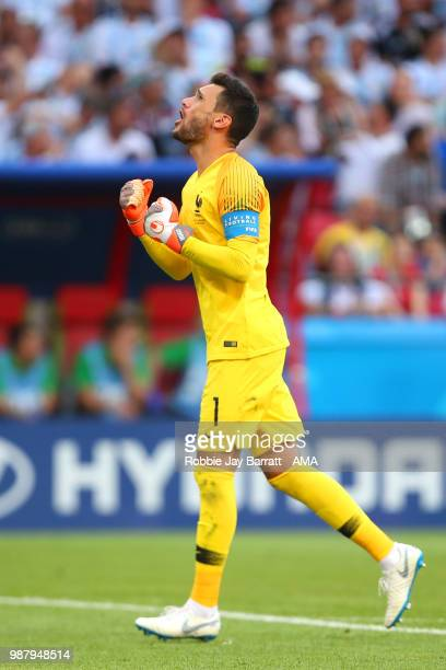 Hugo Lloris of France celebrates his team's third goal during the 2018 FIFA World Cup Russia Round of 16 match between France and Argentina at Kazan...
