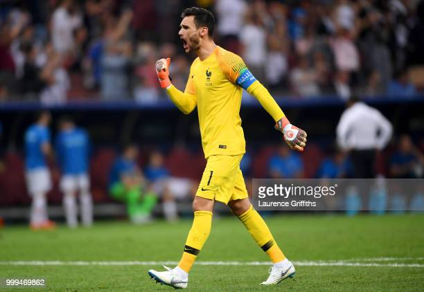 Hugo Lloris of France celebrates his team's third goal during the 2018 FIFA World Cup Final between France and Croatia at Luzhniki Stadium on July 15...
