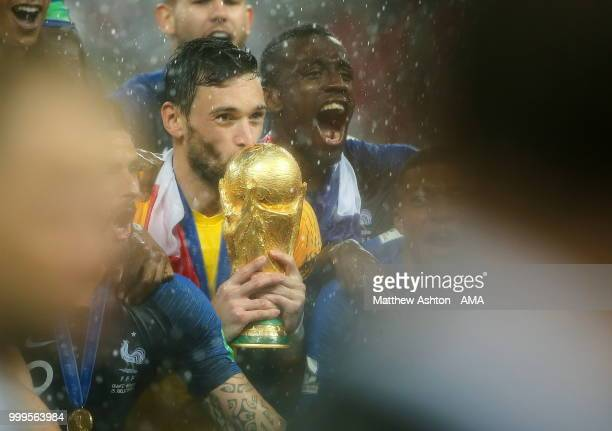 Hugo Lloris of France celebrates with the FIFA World Cup trophy during the 2018 FIFA World Cup Russia Final between France and Croatia at Luzhniki...