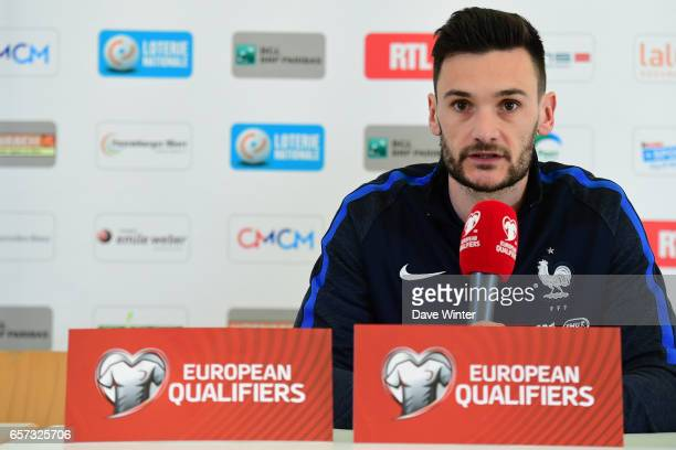 Hugo Lloris of France during the press conference before the FIFA World Cup 2018 qualifying match between Luxembourg and France on March 24 2017 in...