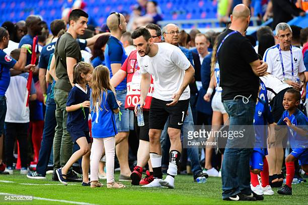 Hugo Lloris of France greets his eldest daughter Anna Rose after the European Championship match Round of 16 between France and Republic of Ireland...