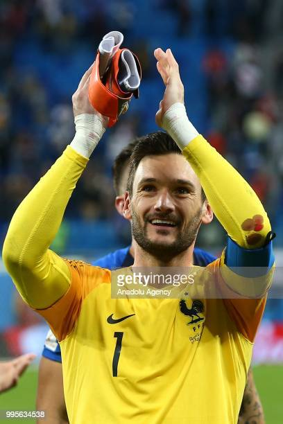Hugo Lloris of France greets the fans after the 2018 FIFA World Cup Russia semi final match between France and Belgium at the Saint Petersburg...