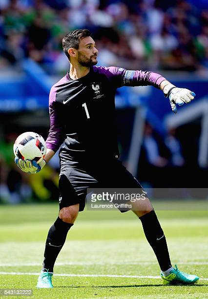 Hugo Lloris of France in action during the UEFA EURO 2016 round of 16 match between France and Republic of Ireland at Stade des Lumieres on June 26...