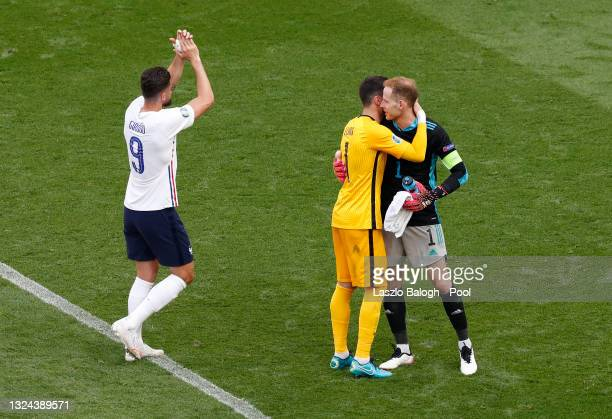 Hugo Lloris of France interacts with Peter Gulacsi of Hungary after the UEFA Euro 2020 Championship Group F match between Hungary and France at...