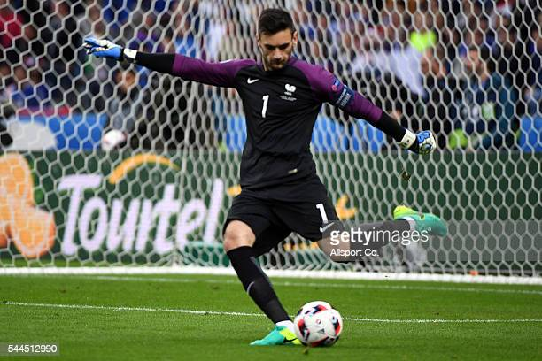 Hugo Lloris of France kicks the ball during the UEFA EURO 2016 quarter final match between France and Iceland at Stade de France on July 3 2016 in...
