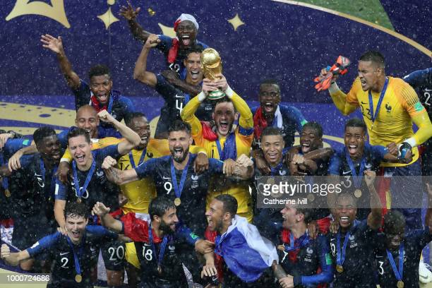 Hugo Lloris of France lifts the trophy after the 2018 FIFA World Cup Russia Final between France and Croatia at Luzhniki Stadium on July 15 2018 in...