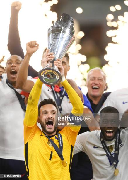 Hugo Lloris of France lifts The UEFA Nations League Trophy following their team's victory in the UEFA Nations League 2021 Final match between Spain...