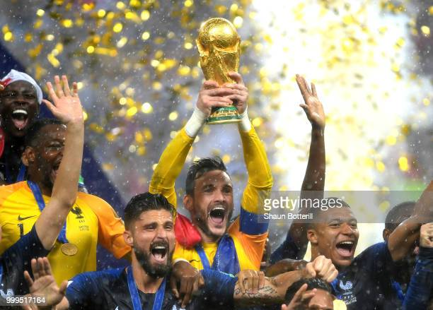 Hugo Lloris of France lifts the World Cup trophy to celebrate with his teammates after during the 2018 FIFA World Cup Final between France and...