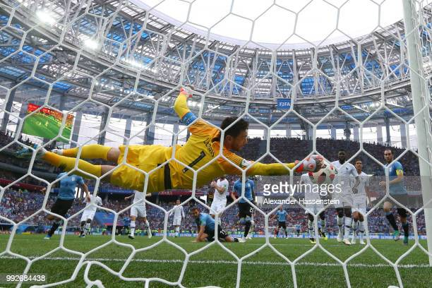Hugo Lloris of France makes a save during the 2018 FIFA World Cup Russia Quarter Final match between Uruguay and France at Nizhny Novgorod Stadium on...