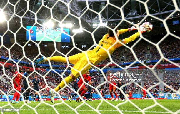 Hugo Lloris of France makes a save during the 2018 FIFA World Cup Russia Semi Final match between Belgium and France at Saint Petersburg Stadium on...