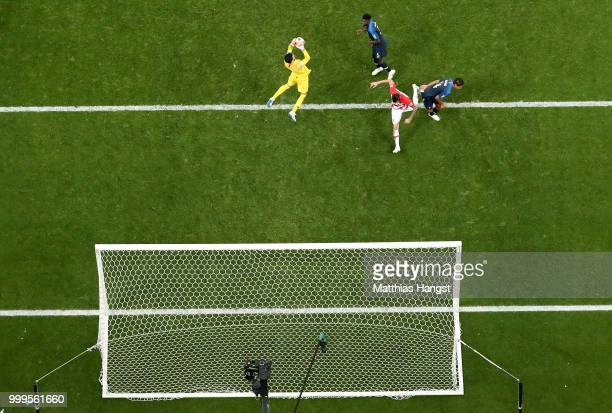 Hugo Lloris of France makes a save during the 2018 FIFA World Cup Final between France and Croatia at Luzhniki Stadium on July 15 2018 in Moscow...