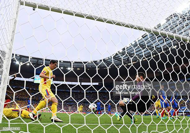 Hugo Lloris of France makes a save during the UEFA Euro 2016 Group A match between France and Romania at Stade de France on June 10, 2016 in Paris,...