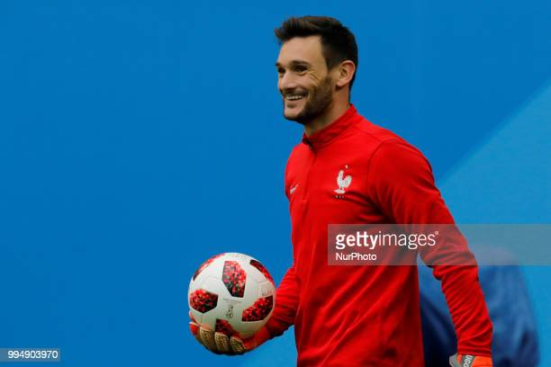 Hugo Lloris of France national team during a France national team training session ahead of the 2018 FIFA World Cup Russia Semi Final match against...
